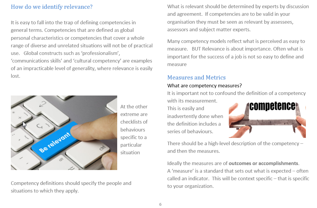 competency assessment relevanxce and metrics