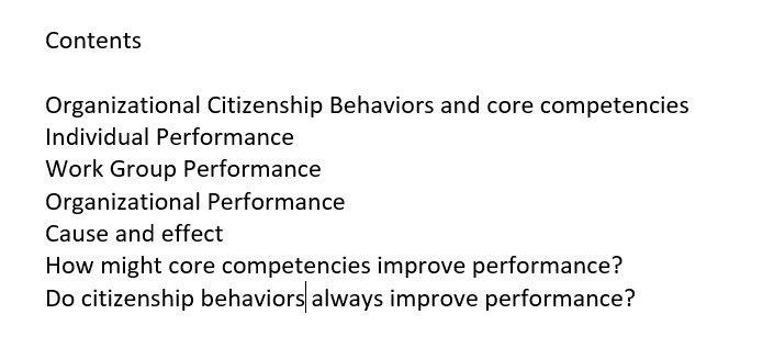 core competencies and performance - contents